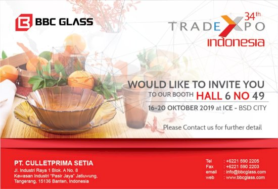 BBC Glass would like to invite you to our booth in 34th Trade EXPO 2019